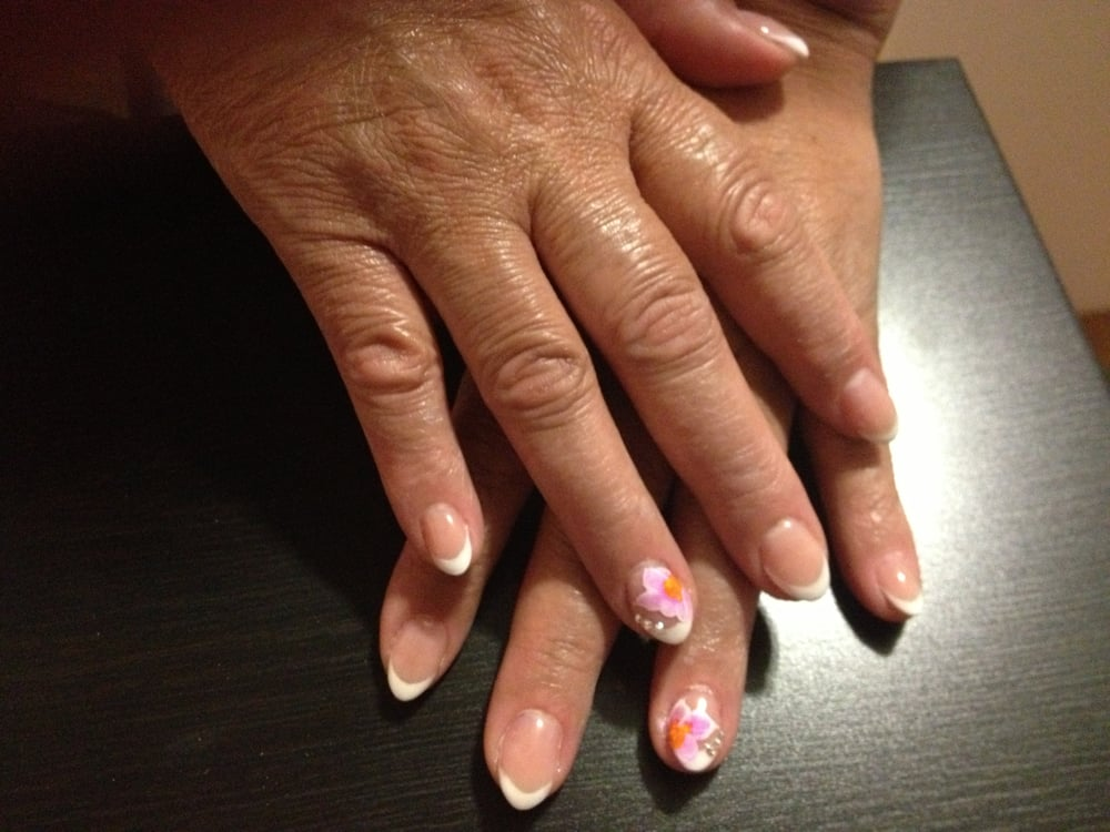 French Classic Almond Nails with Flower - Yelp