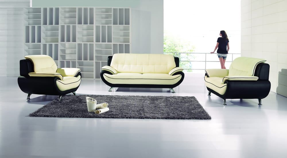 Piece leather match living room sofa set in ivory black