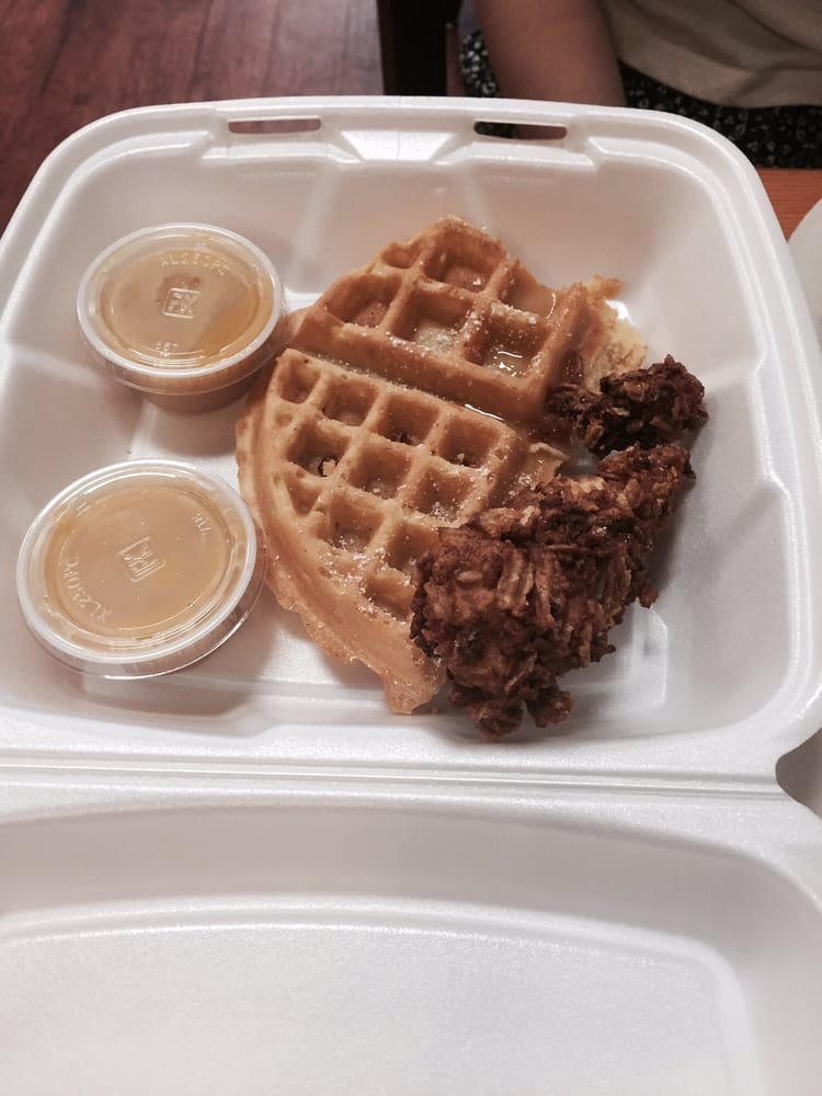 Chicken And Waffles They Serve A Butter Syrup That 39 S Creamy Buttery With A Hint Of Maple