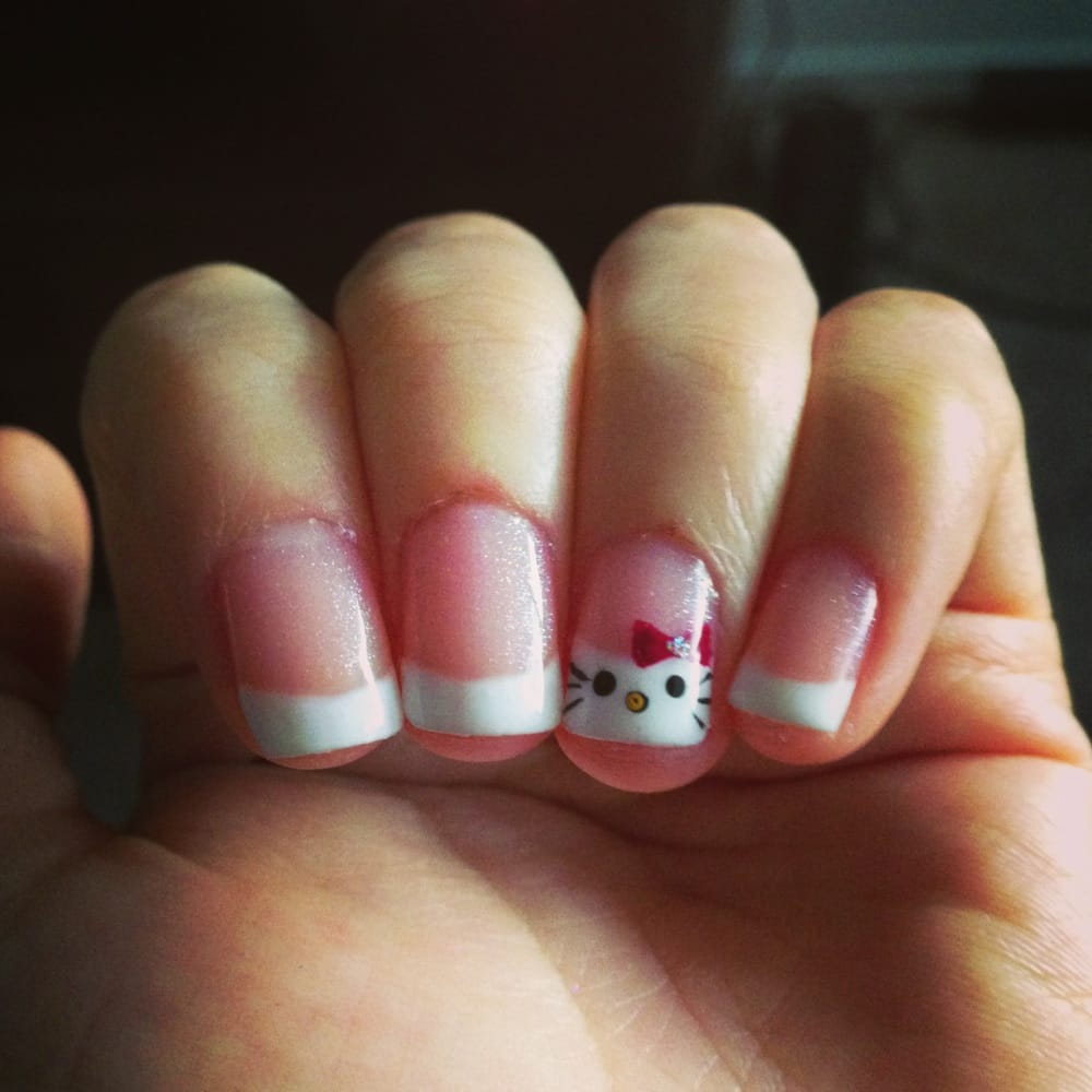 Hello Kitty Gel french tip nails with light pink glitter ...