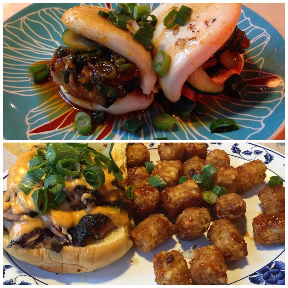 Bao Bun Pork And Duck Sandwich With Spicy Tater Tots.