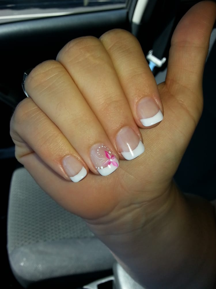 Gel powder french manicure, no tips, actual nail length. Done by ...