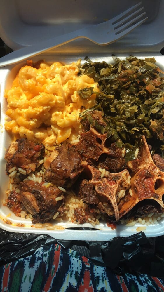 Aunties Soul Food Oxtails Rice And Mac And Cheese And Collard