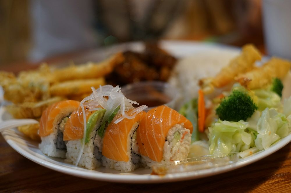 Food from Raku Teriyaki & Sushi Roll