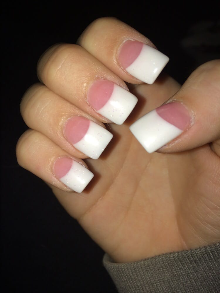 Pink and white with glitter tips ;) - Yelp