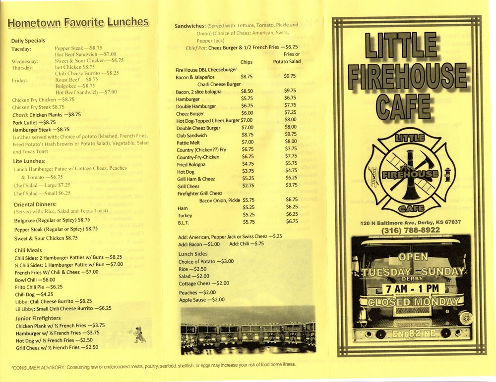 Little Firehouse Cafe: 120 North Baltimore Ave, Derby, KS