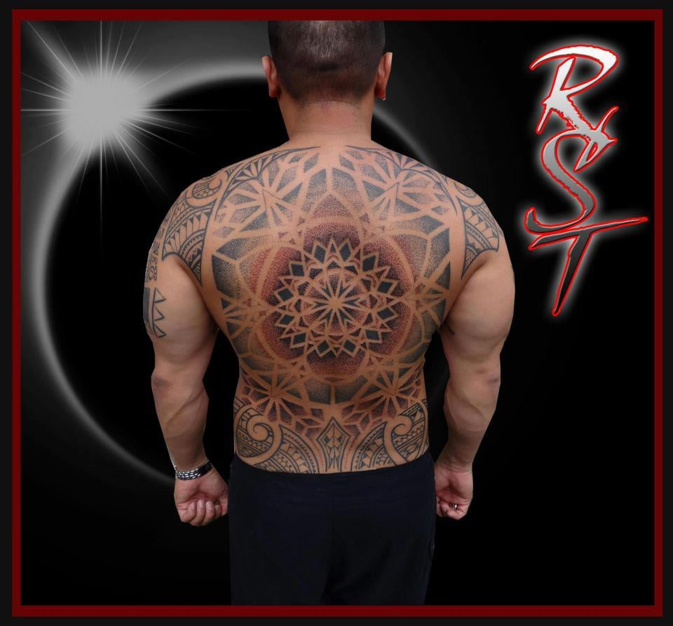 Seed Of Life Dotwork Tattoo Framed With Polynesian Artist
