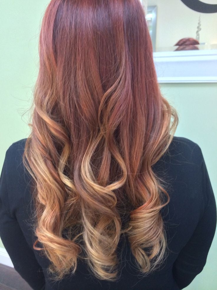 Subtle red balayage ombre by Emilee. - Yelp  Subtle red bala...
