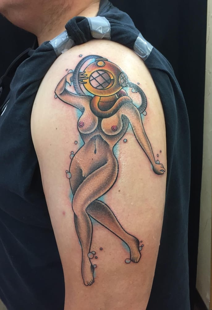 Traditional scuba girl by paulie oliver yelp for Nude women tattoo