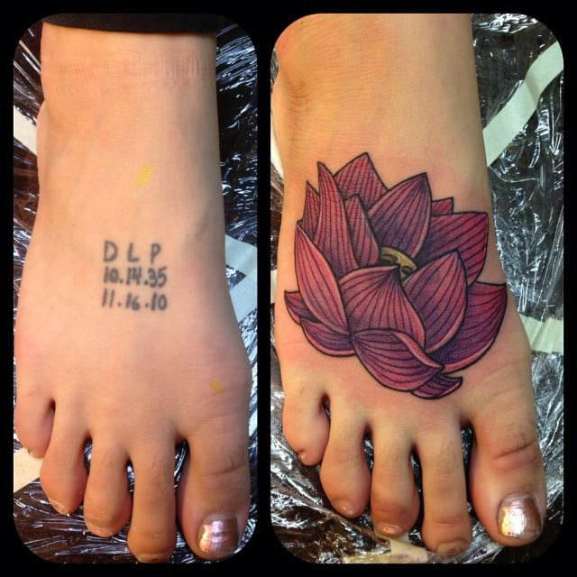 Lotus cover up by by lucky monkey tattoo 39 s patrick haller for Lucky drive tattoo parlour