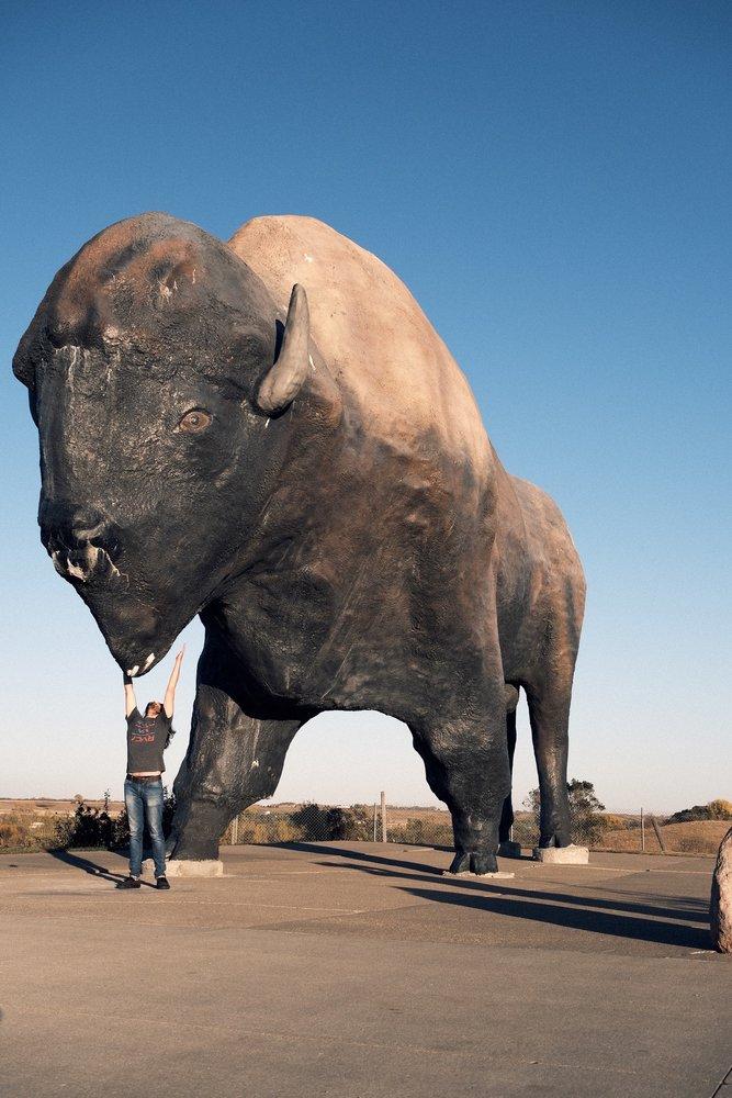 World's Largest Buffalo Monument: Louis Lamour Ln, Jamestown, ND