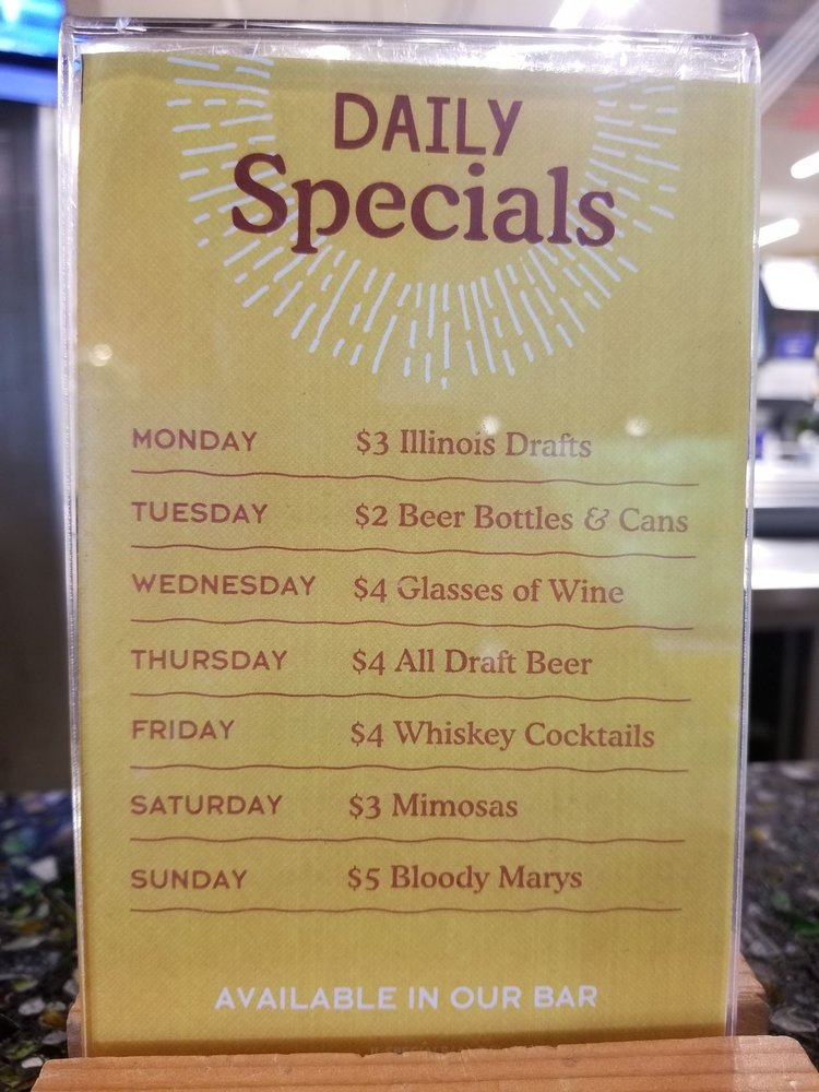 Daily drink specials up at the bar on