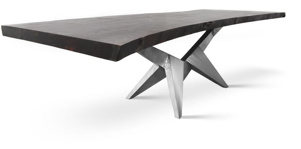 Ebony Stained Dining Or Conference Table On Unique Stainless - Conference table miami