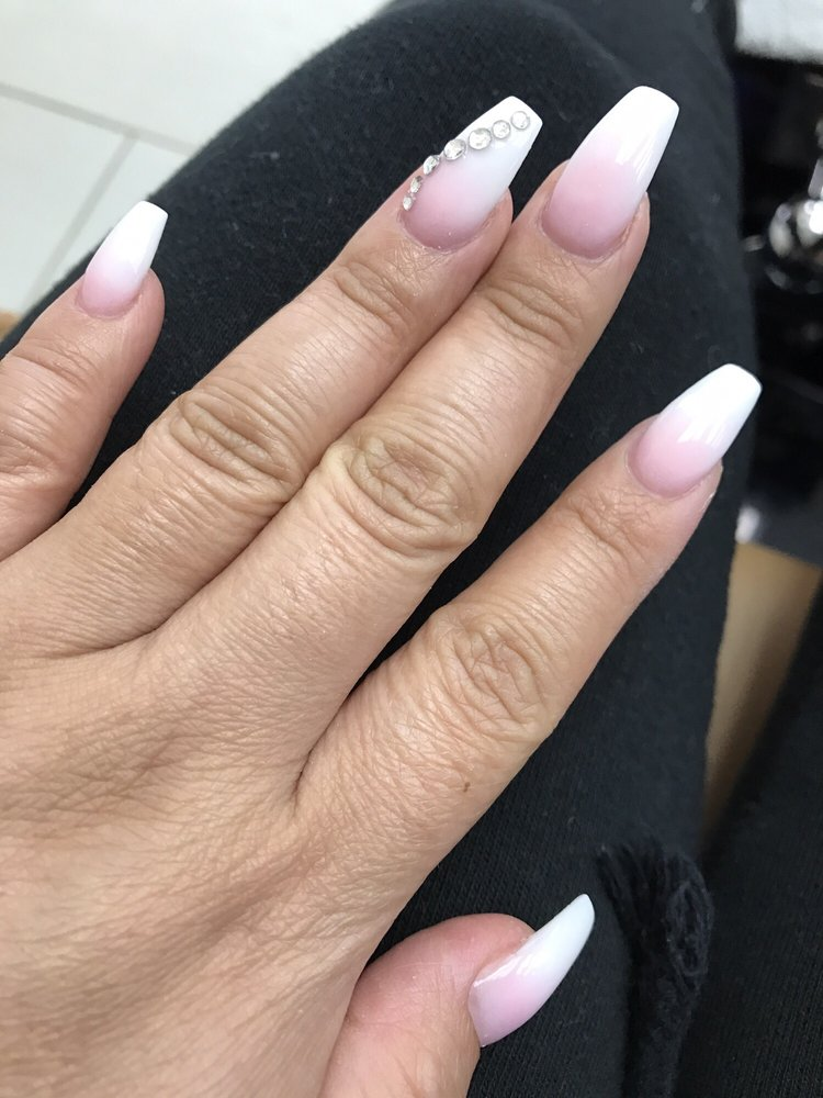 Pink and white ombré with crystal design. Nails by Tim - Yelp