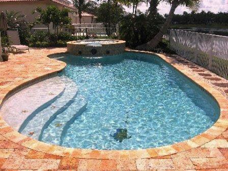 Pool Spa Combo With Travertine Patio Yelp