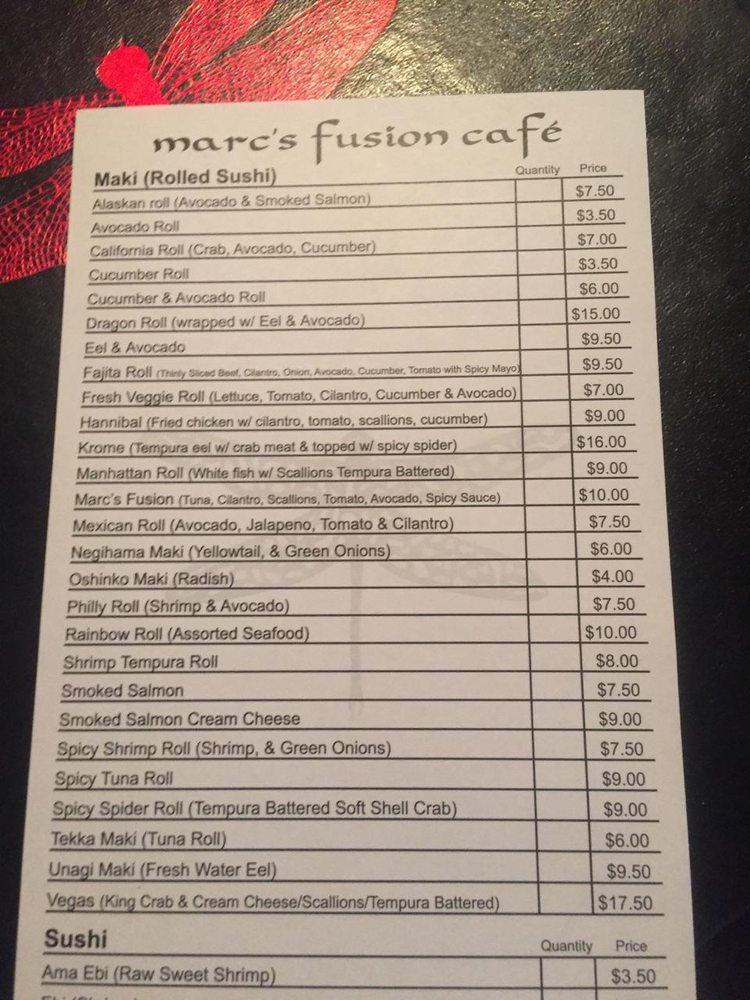 Marc S Fusion Cafe Menu
