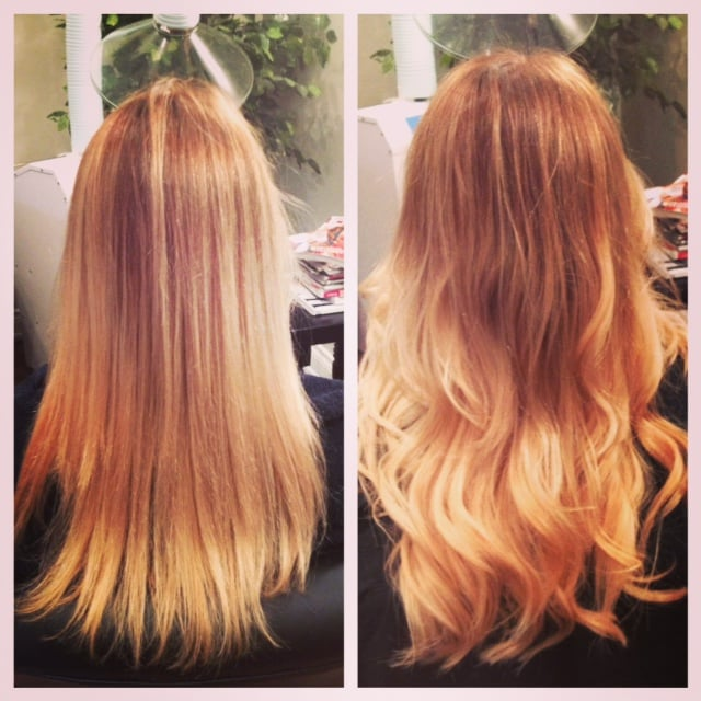 Before And After On A Client With Glam Seamless Tape Hair Extensions