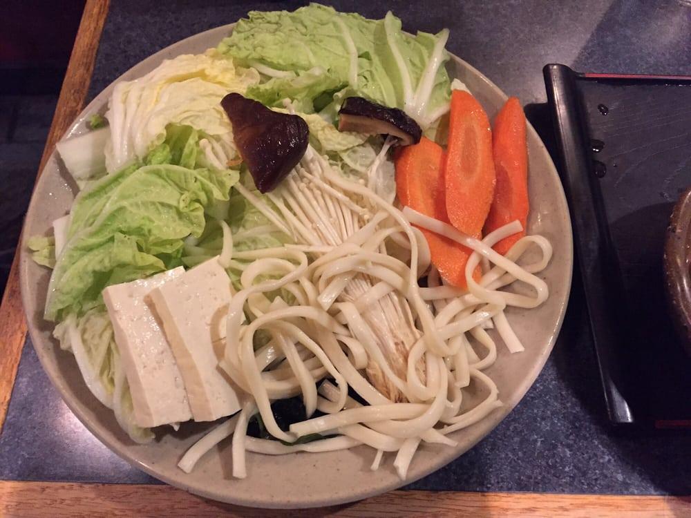 Shabu Hachi Restaurant - Los Angeles, CA, United States. Vegetables and udon noodles