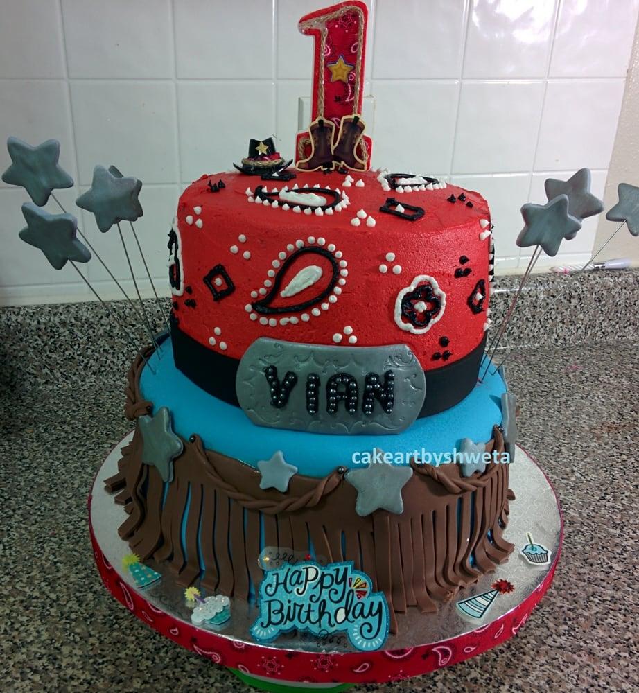 Houston Rodeo Theme 1st Birthday 2 tier Cake Upper Tier