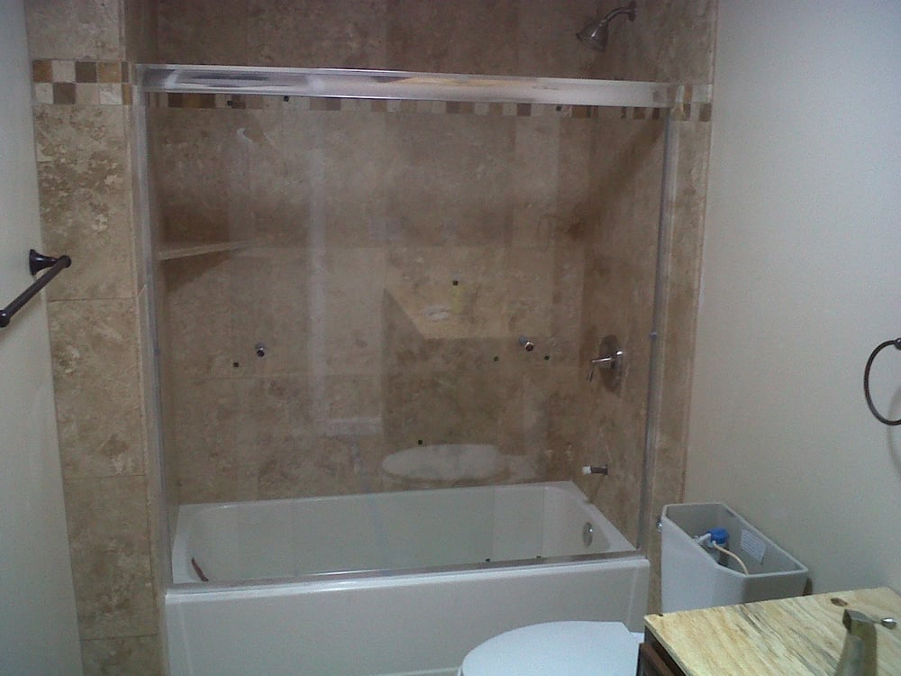 Bathroom Remodel ShowerTub combo done in travertine Yelp