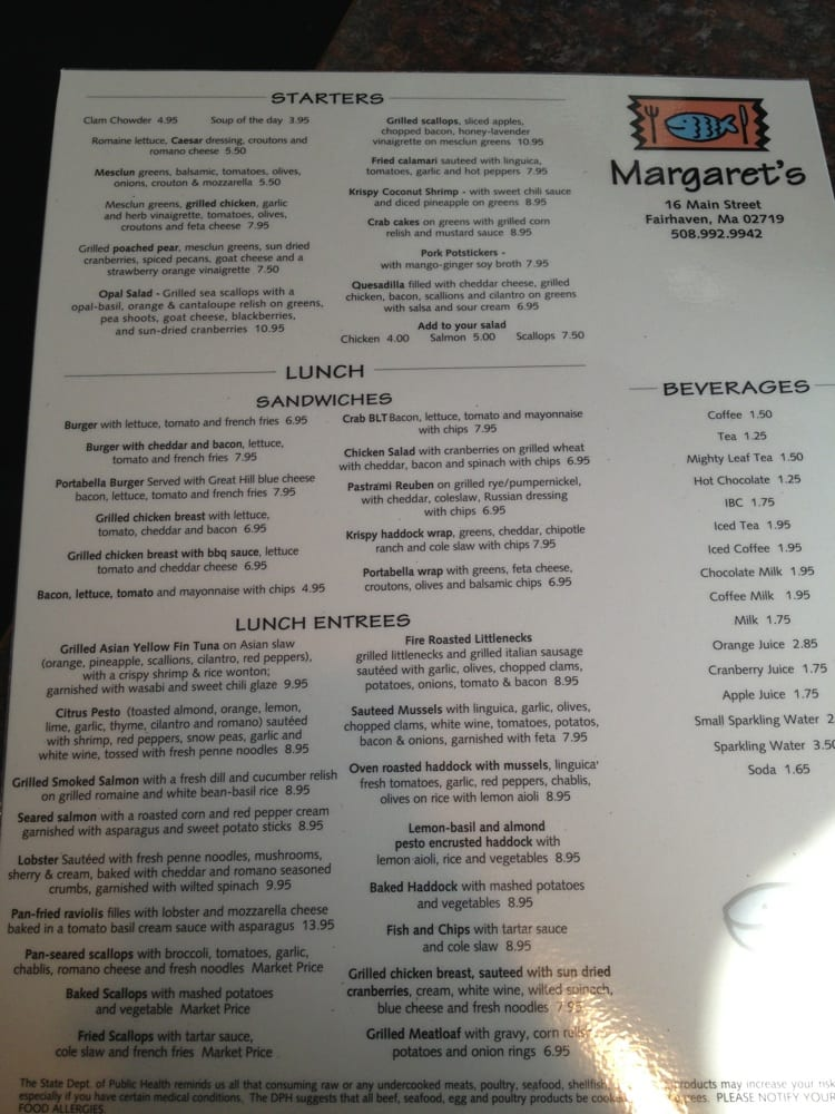 Margarets Restaurant Fairhaven Ma Menu