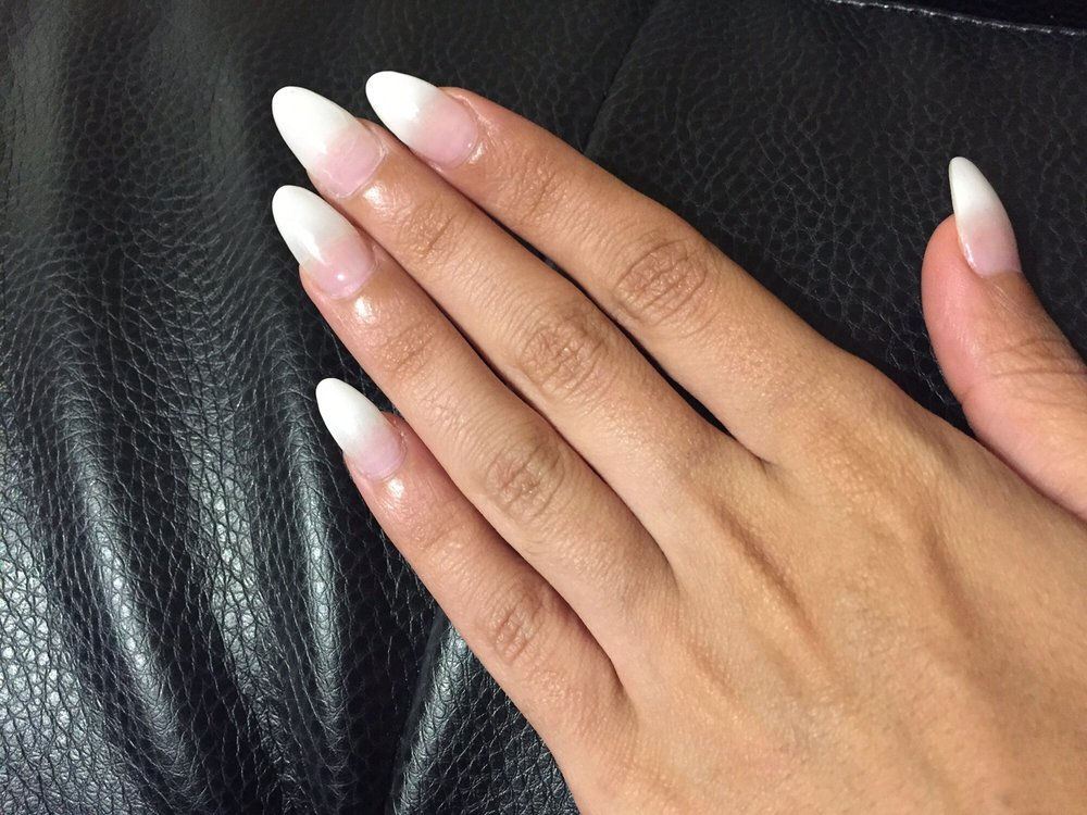 Oval ombré French nails - Yelp