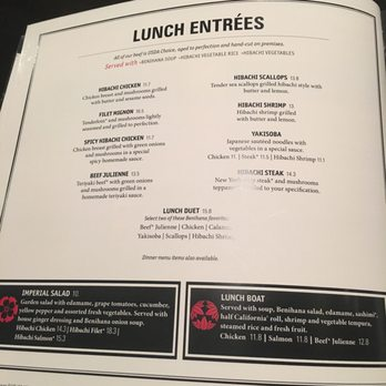 benihana restaurant and food cost Home » restaurant menu prices » benihana menu & prices find benihana's menu prices & most popular food items below you will find the full benihana® menu complete with prices.