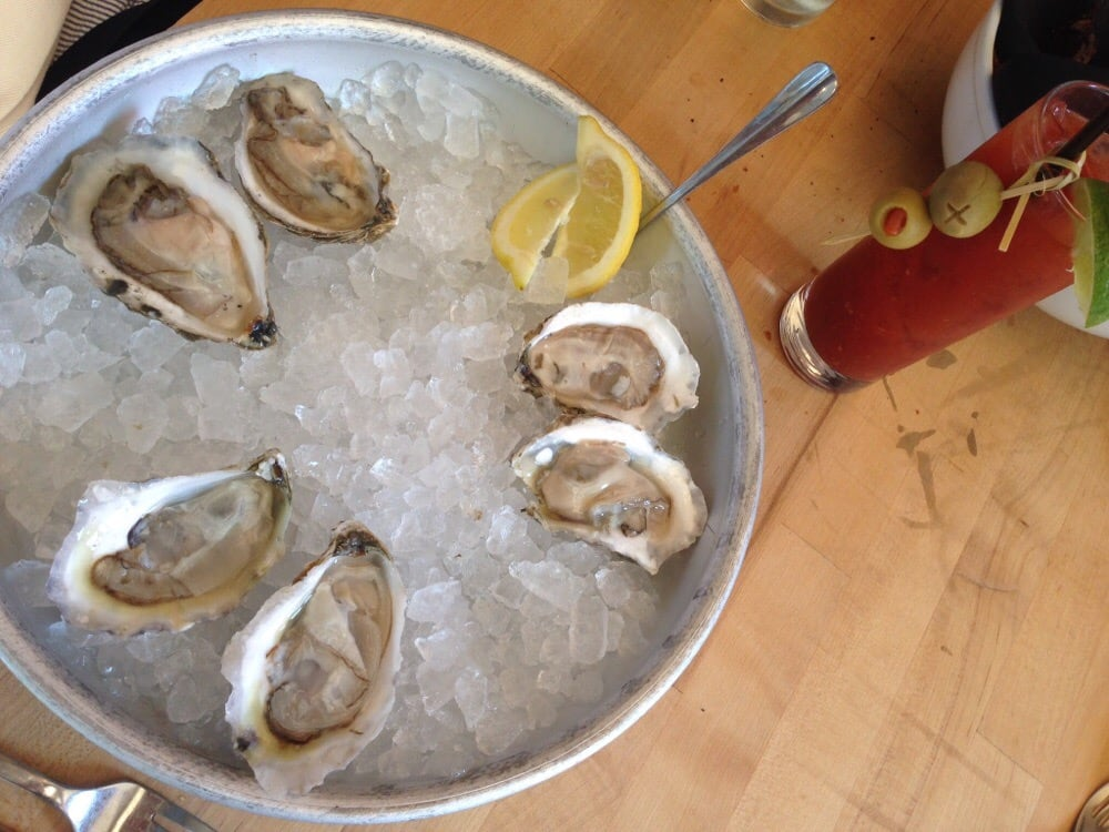 Oysters on the half shell and a bloody mary for brunch for Public fish and oyster