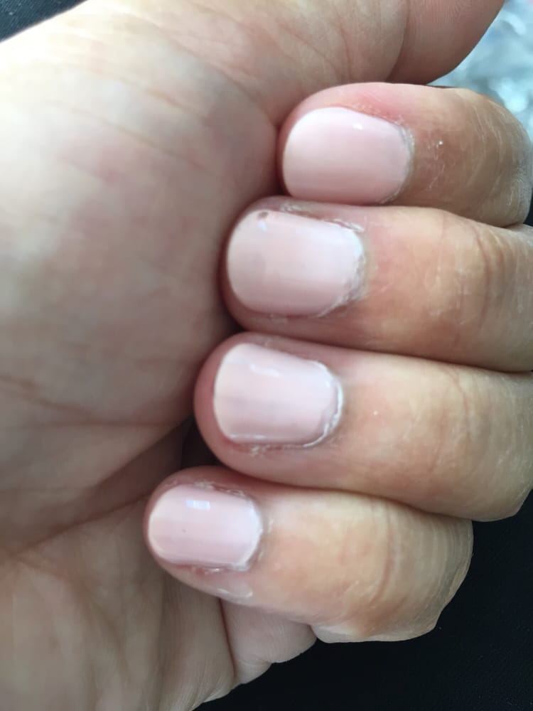 Uneven nail polish, cuticles not clean - Yelp