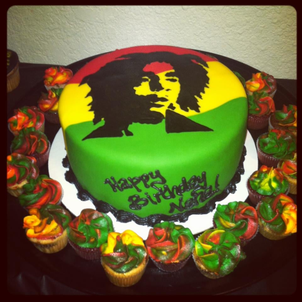 Bob Marley theme cake and cupcakes done by Antonia Everyone loved