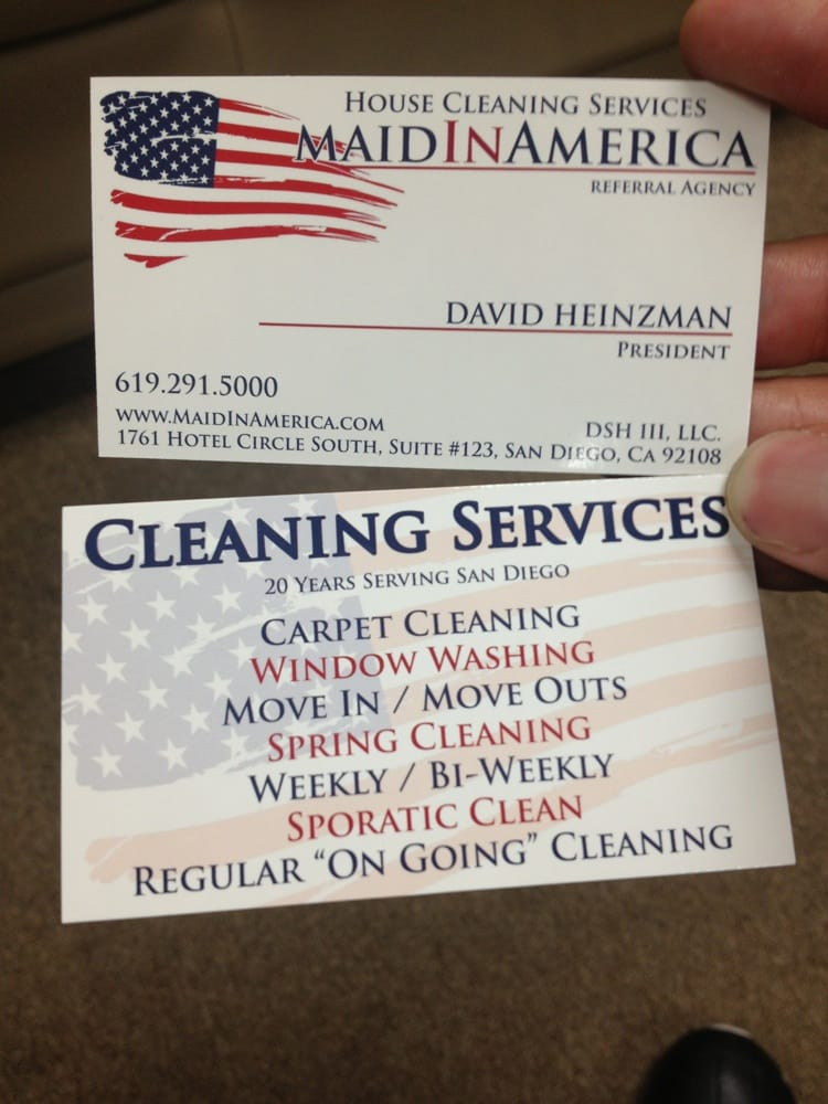 Business card front and back for this great cleaning agency yelp photo of maid in america san diego ca united states business card reheart Image collections