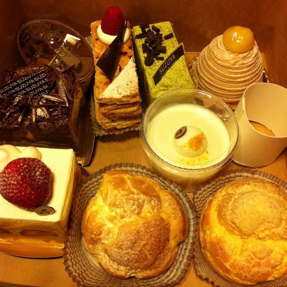 Tiramisu, mille-feuille, green tea, mont blanc, yuzu panna cotta, cream puff, anko cream puff