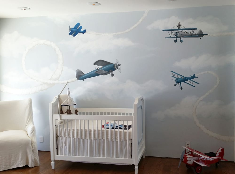 Vintage airplane themed mural in hollywood hills ca yelp for Air conditionn mural