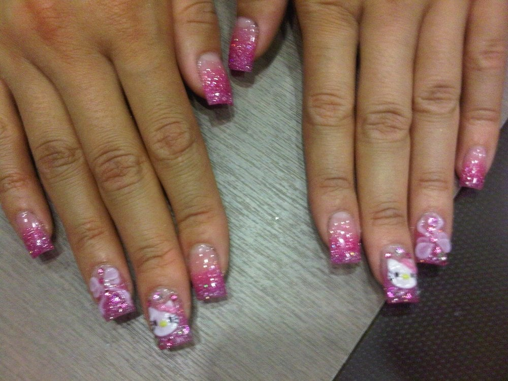 Client 2 hello kitty 3d nail art full set yelp for 3d nail art salon