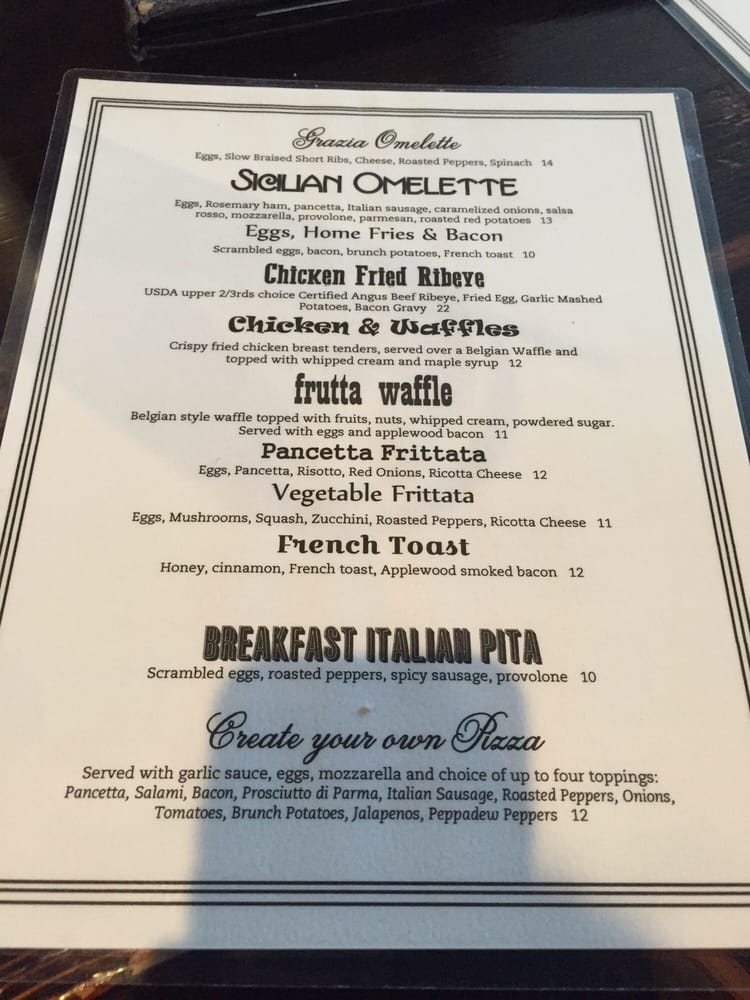 Grazia Italian Kitchen Menu