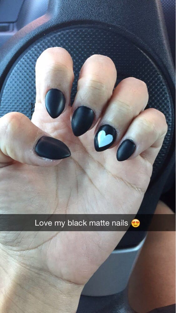 black matte almond shape nails done by Fiona - Yelp