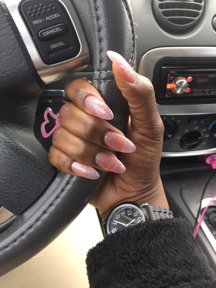 Light pink powder acrylic nails with gel polish. I asked for an ...