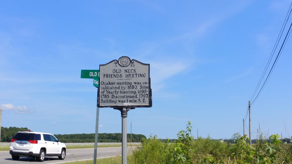Old Neck Friends Meeting Historical Marker: US-17 & State Rd 1301, Parkville, NC