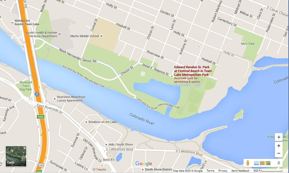 Google Map Showing The Location Of The Park From IH East On The - Calorado river us map