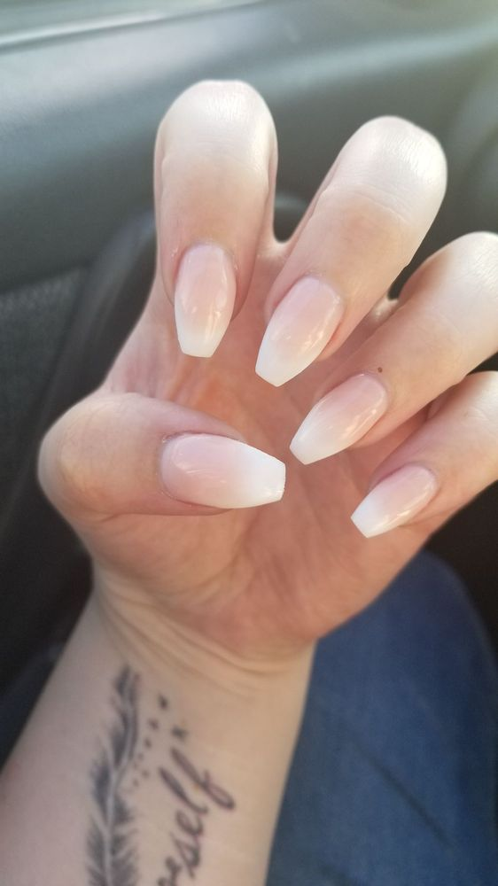 Coffin nails with ombre French manicure - Yelp