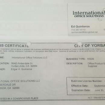 Photo Of International Office Solutions Orange Ca United States Expired License And