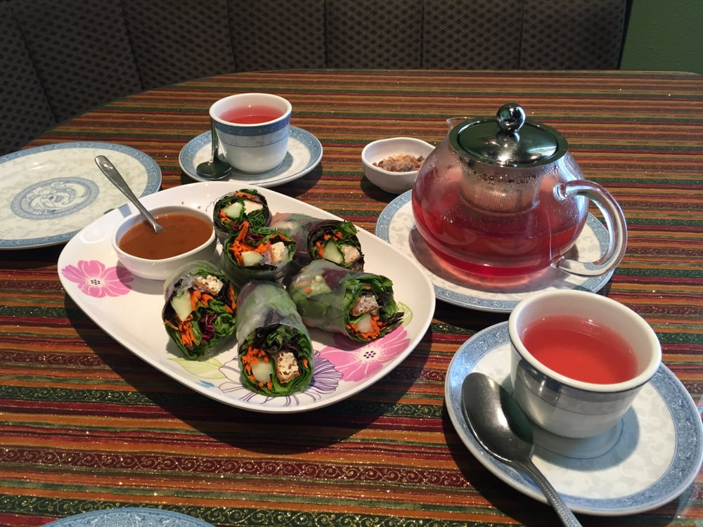 Spring roll appetizer with raspberry teavana tea yelp for At siam thai cuisine