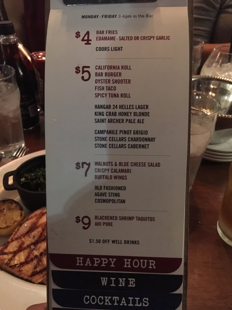Happy hour menu yelp for King s fish house happy hour