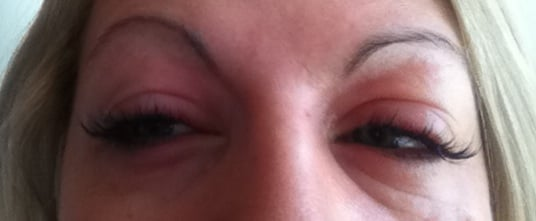 allergic reaction to eyelash extensions, just got mine done ...