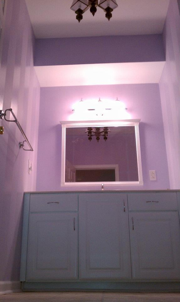 Wendy todd39s lavender bathroom flat base with 8quot semi for Semi gloss or satin for bathroom