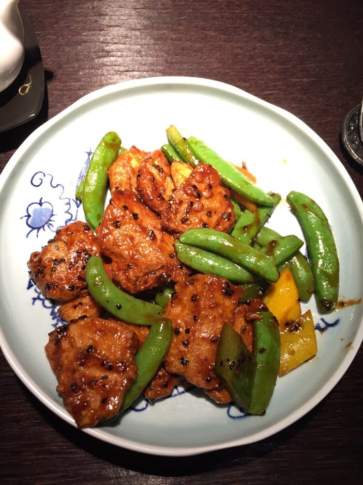 Stir fry vegetarian chicken with black pepper sauce - Yelp