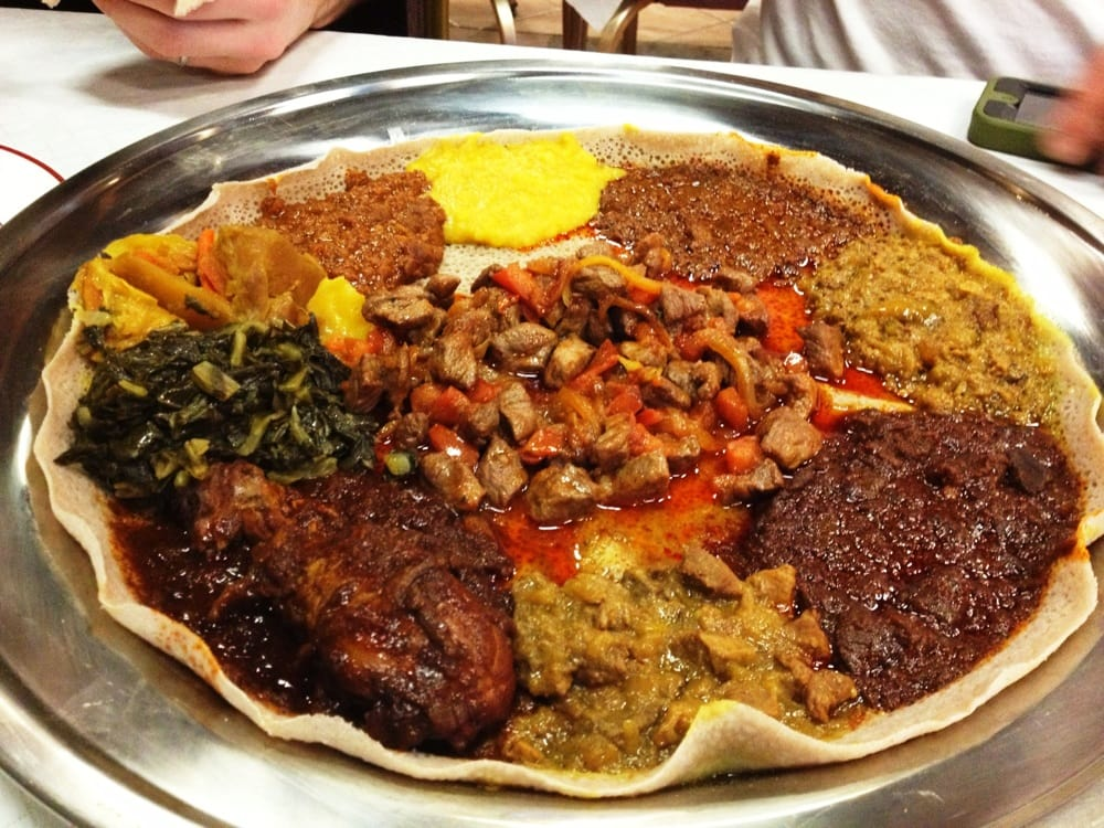 Grand sampler with ye beg awaze tibs tender lamb pieces for Abyssinia ethiopian cuisine
