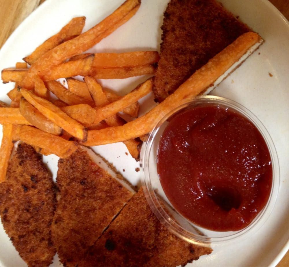 Lyfe Kitchen Yelp: Kids Chicken Tender With Baked Sweet Potato Fries Meal.