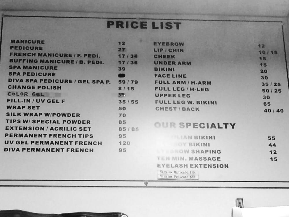 Price list - Yelp