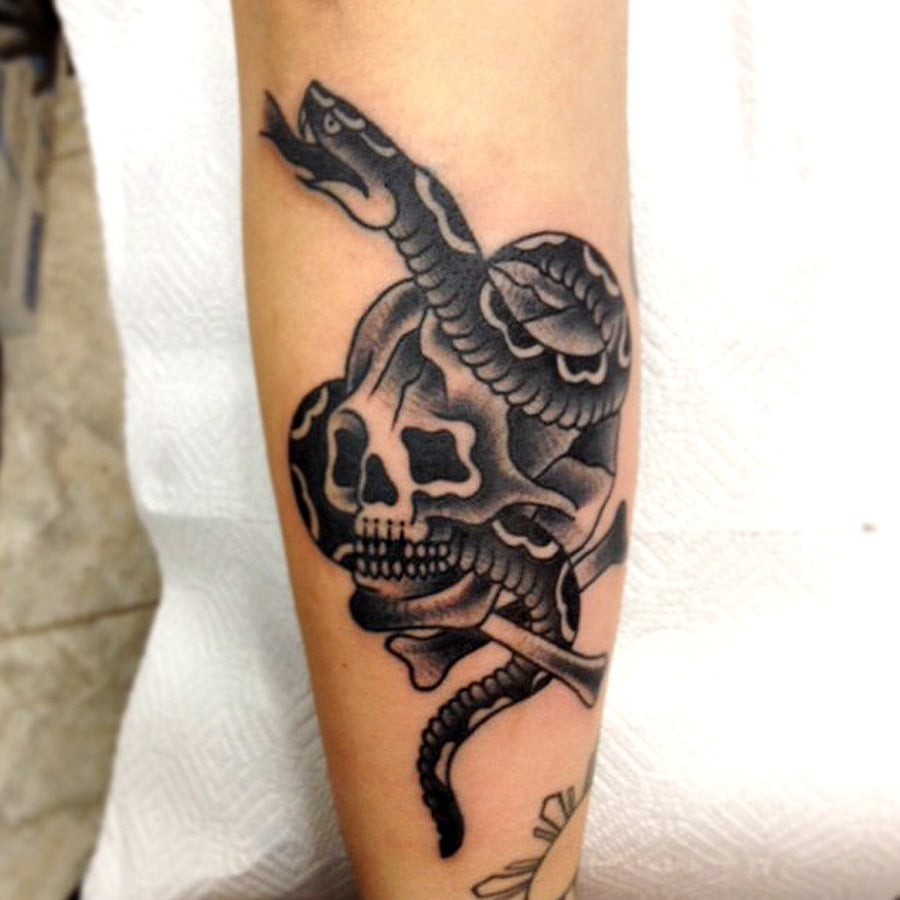 Tip top tattoo parlor traditional black and grey tattoos for Traditional black and grey tattoo